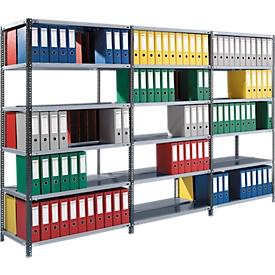 Juego estantería de archivadores, bilateral, P 600mm, estantes galvanizados