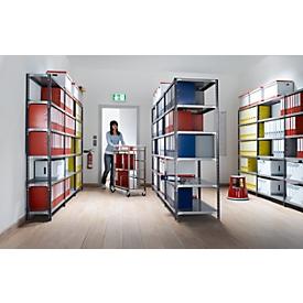 Juego estantería de archivadores, unilateral, P 300mm, estantes galvanizados