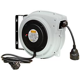 Kabelaufroller CEMO, Kunststoff, für Strom, geschlossen, max. 15m, Schlauchlänge 15m