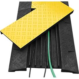 Kabelbrücke, mit abnehmbarem Deckel & 4 Reflektoren, belastbar bis zu 25 t, Recyclingmaterial, schwarz-gelb