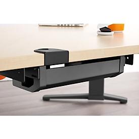Kabelkanal ERGO-T 2.0, Metall, anthrazit, für Tische ab Breite 1600 mm