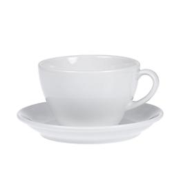 Kaffeetassen-Set BISTRO, 6 Tassen & Untertassen, jeweils 0,2 l, H 65 mm, Porzellan, weiß