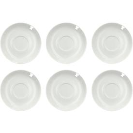 Kaffeeuntertasse Solea, Ø 150 mm, uni, weiß, Porzellan, 6 Stück