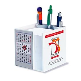 Kalender-Zettelbox, 3-Monats-Kalender, B 100 x T 100 x H 105 mm, Werbedruck 90 x 90 mm, grau, Auswahl Werbeanbringung erforderlich