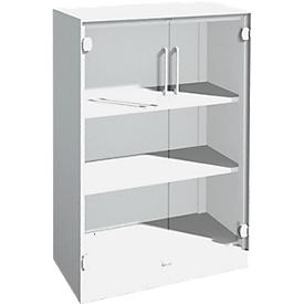 Kast met glazen deuren ASISTO C 3000, 3 ordnerhoogten, B 800 mm, wit/helder glas