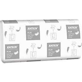 KATRIN Z-Falthandtücher, hochweiß, 2-lagig, 2 x 18 g/m², 224 x 230 mm, Handy-Pack mit Griff, 4000 Stück