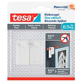 Klebenagel tesa®, für Tapete & Putz, Haftkraft bis 0,5 kg, ablösbar, 2 Stück