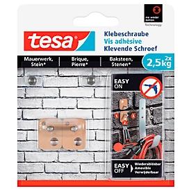 Klebeschraube tesa®, für Mauerwerk & Stein im Innen- & Außenbereich, Haftkraft bis 2,5 kg, ablösbar, viereckig, 2 Stück