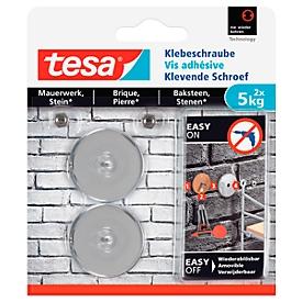Klebeschraube tesa®, für Mauerwerk & Stein im Innen- & Außenbereich, Haftkraft bis 5 kg, ablösbar, rund, 2 Stück
