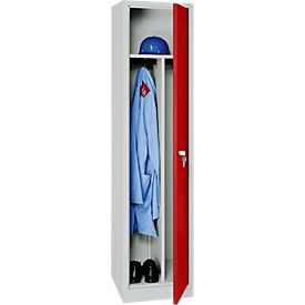 Kledinglocker, 1 deur, B 400 x H 1800 mm Hangslot, lichtgrijs/rood