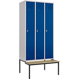 Kledinglocker, 3 compartimenten, 300 mm, draaigrendelslot, zitbank deur gentiaanblauw