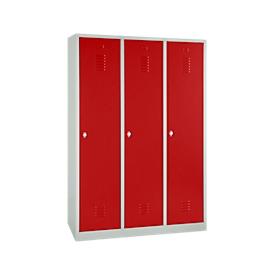 Kledinglocker, 3 deuren, B 1200 x H 1800 mm draaigrendelslot, lichtgrijs/rood