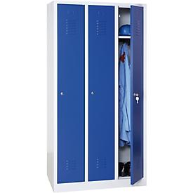 Kledinglocker, 3 deuren, B 900 x H 1800 mm cilinderslot, lichtgrijs/blauw