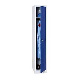 Kledinglocker, B 300 x H 1800 mm lichtgrijs/lichtgrijs RAL 7035/5010 draaigrendelslot
