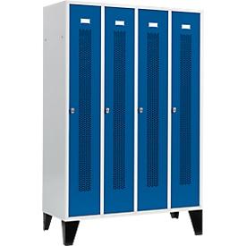 Kledinglocker met geperforeerde lijnen, 4 compartimenten, met poten, draaigrendelslot, deur gentiaanblauw
