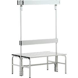 Kleedkamerbank, rvs buis/aluminium, dubbel met garderobedeel, L 1015 mm, lichtgrijs