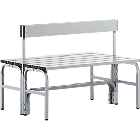 Kleedkamerbank, rvs buis/aluminium, dubbel met rugleuning, L 1015 mm, blank aluminium
