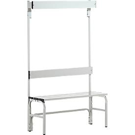 Kleedkamerbank, rvs buis/aluminium, enkel met garderobedeel, L 1015 mm, lichtgrijs