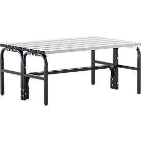 Kleedkamerbank, stalen buis/aluminium, dubbel, 1015 mm lang, antraciet