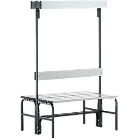 Kleedkamerbank, stalen buis/aluminium, dubbel met garderobedeel, 1015 mm lang, antraciet
