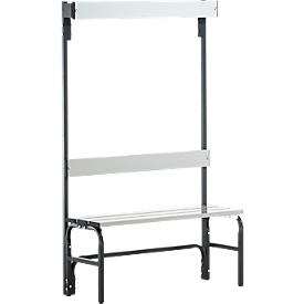 Kleedkamerbank, stalen buis/aluminium, enkel met garderobedeel, 1015 mm lang, antraciet