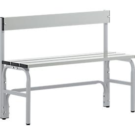 Kleedkamerbank, stalen buis/aluminium, enkel met rugleuning, 1015 mm lang, blank aluminium