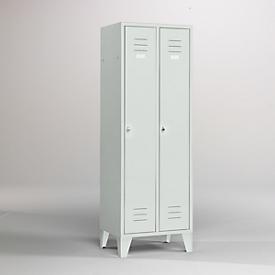 Kleiderspind, 2 Türen, B 600 x H 1800 mm, inkl. Füßen, Drehriegelverschluss, lichtgrau