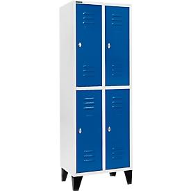 Kleiderspind, mit 2 x 2 Abteilen, 300 mm, mit Füßen, Drehriegelverschluss, Tür enzianblau
