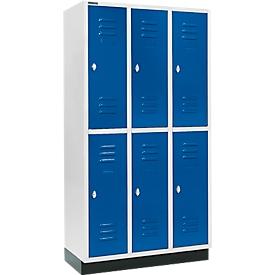 Kleiderspind, mit 3 x 2 Abteilen, 300 mm, mit Sockel, Drehriegelverschluss, Tür enzianblau