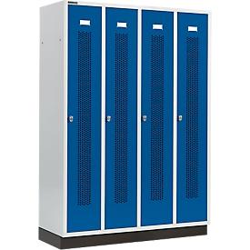 Kleiderspind mit gelochten Streifen, 4 Abteile, mit Sockel, Drehriegelverschluss, Tür enzianblau