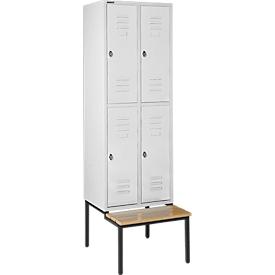 Kleiderspind, mit Sitzbank, 2x2 Abteile, 300mm, Drehriegelverschluss, lichtgrau/lichtgrau