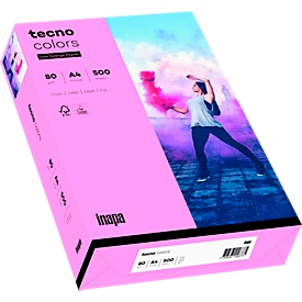 Kleurenpapier tecno Colors, A4-formaat, 80 g/m², roze, pak van 500 vellen