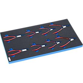 KNIPEX Sicherungsringzangen in Hartschaumeinlage, 8-tlg., für Schrankserie DP, Maße 195 x 558 mm
