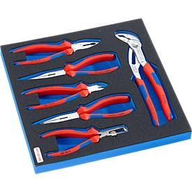 KNIPEX Zangenset in Hartschaumeinlage, 6-tlg., für Schrankserie DP, Maße 195 x 558 mm