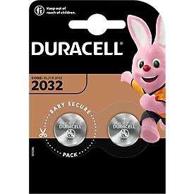 Knopfzellen Duracell CR2032, Lithium, 3 V, 170 mAh, Ø 20 x H 2,5 mm, 2 Stück