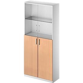 Kombischrank TETRIS SOLID, 6 OH, Glas- und Flügeltüren, B 1000 mm, abschließbar, Glas/Buche-Dekor/weißalu