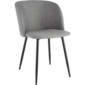 Konferenzstuhl, 2er-Set, B 570 x T 540 x H 810 mm, gepolstert, Gestell schwarz, Stoffbezug grau