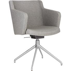 Konferenzstuhl Sitness 1.0, dreidimensionale Sitzfläche, höhenverstellbar, drehbar, hellgrau