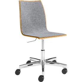 Konferenzstuhl Topstar 420, höhenverstellbar, Sitz/Rücken m. Polsterauflage, eiche-hellgrau