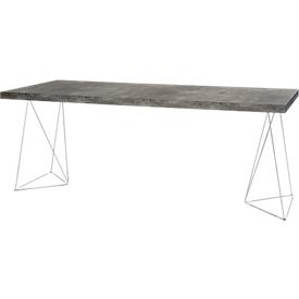 Konferenztisch Beton, bis 4 Personen, Rechteck, Trapez, B 2000 x T 900 x H 770 mm, Beton/chromsilber
