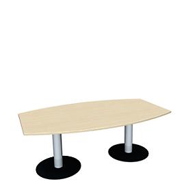 Konferenztisch, bis 6 Personen, Boot, Tellerfuß, B 2000 x T 800 x H 720 mm, Ahorn/weißaluminium