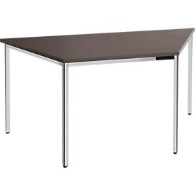 Konferenztisch, bis 6 Personen, Trapez, 4-Fuß Quadratrohr, B 1600 x T 800 x H 720 mm, Wenge/chromsilber