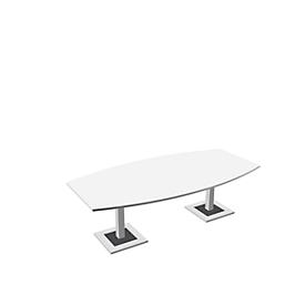 Konferenztisch, bis 8 Personen, Boot, Standfuß, B 2400 x T 1200 x H 720-820 mm, weiß/silber