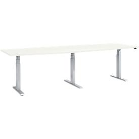 Konferenztisch, elektrisch höhenverstellbar, Tonne, T-Fuß, B 2800 x T 800/1000 x H 640-1300 mm, weiß/weißalu