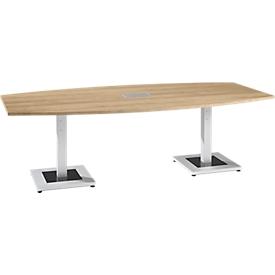 Konferenztisch, mit Tischanschlussfeld, bis 8 Personen, Boot, Standfuß, B 2400 x T 1200 x H 720-820 mm, Eiche Masonic/silber