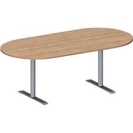 Konferenztisch MODENA FLEX, höhenverstellbar, ohne Anschlussfeld, Oval-Form, T-Fuß-Rundrohr, B 2000 x T 1000 mm, Kirsche Romana-Dekor