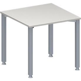 Konferenztisch MODENA FLEX, höhenverstellbar, Quadrat-Form, 4-Fuß-Quadratrohr, B 800 x T 800 mm, lichtgrau