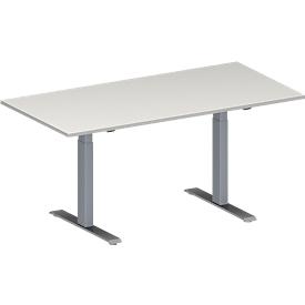 Konferenztisch MODENA FLEX, höhenverstellbar, Rechteck-Form, T-Fuß Rechteckrohr, B 1600 x T 800 mm, lichtgrau
