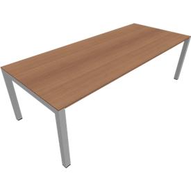 Konferenztisch SOLUS PLAY, bis 8 Personen, Rechteck, Vierkantrohr, B 2400 x T 1000 x H 720-820 mm, Kirsche Romana/alusilber