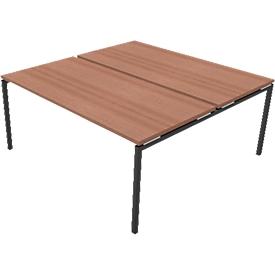 Konferenztischsystem IDEA, Quadrat 8 Plätze, B 1600 x T 1640 mm, Nuss-Canaletto/anthrazit